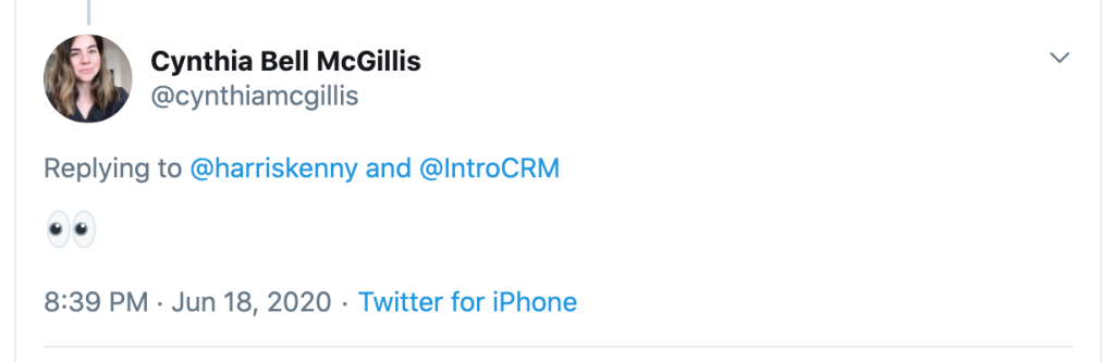Tweet from Cynthia Bell indicating interest in Intro CRM sales software.