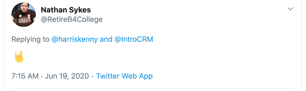 Tweet from Nathan Sykes indicating support for Intro CRM sales software.
