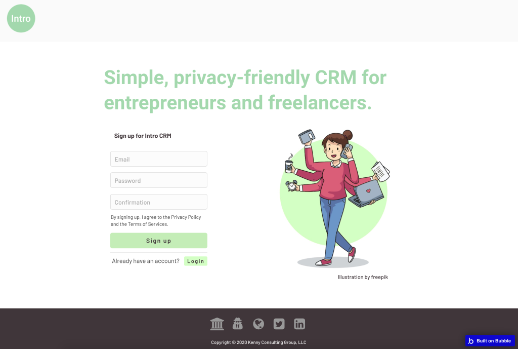 Image of the current index page for Intro CRM sales software, featuring a banner headline, registration form, and illustration of a person multi-tasking.